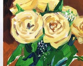 "Original Painting, Yellow Roses, signed art, 8"" x 6"""