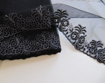 Vintage black Lace embroidered with black flowers on black tulle with grey stitching, alencon lace from Switzerland 1970s, wide black laces