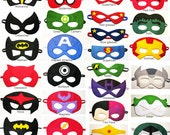 45 felt Superhero Masks party pack - Wholesale - YOU CHOOSE STYLES - Dress Up play costume accessory package - Birthday gift for Boys Girls