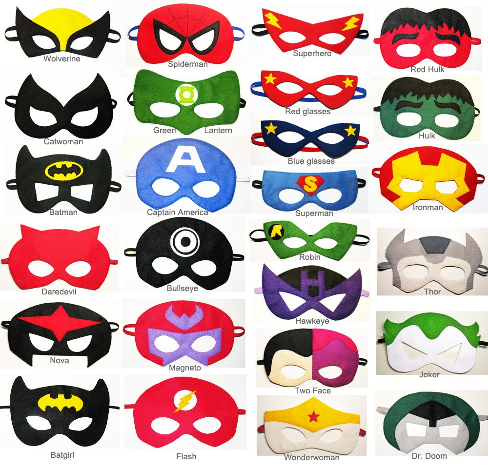 4 felt Superhero Masks party pack for kids YOU CHOOSE STYLES