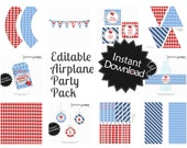 Editable Airplane Party Pack and Invite - Instant Download, Printable Templates - Fill in Text and Print at home with Adobe Reader .. ap01