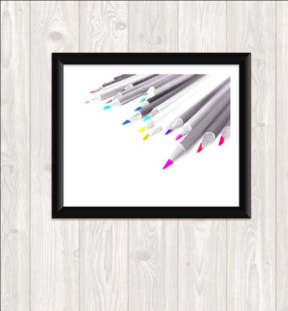 Color Pencils Photography Print Your Own Fine Art Still Life Photo Home Dorm Decor Wall Art  8x10 Gray Scale Rainbow Pencils
