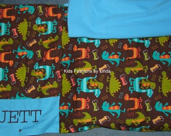 Dino Nap Mat Cover with Turquoise Blanket