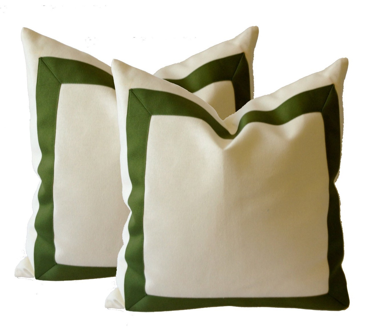 Throw Pillow Covers White : Decorative Throw Pillow Cover in White Cotton Canvas with Oilve Green Grosgrain Ribbon Border ...