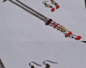 SALE Fire glass bead and crystal drop necklace and earring set