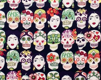 LAMINATED cotton fabric by the yard - Day of the Dead Gotas de Amor eggplant Purple Skull  Alexander Henry - Approved for children - Frida