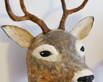 Paper mache deer head, hat