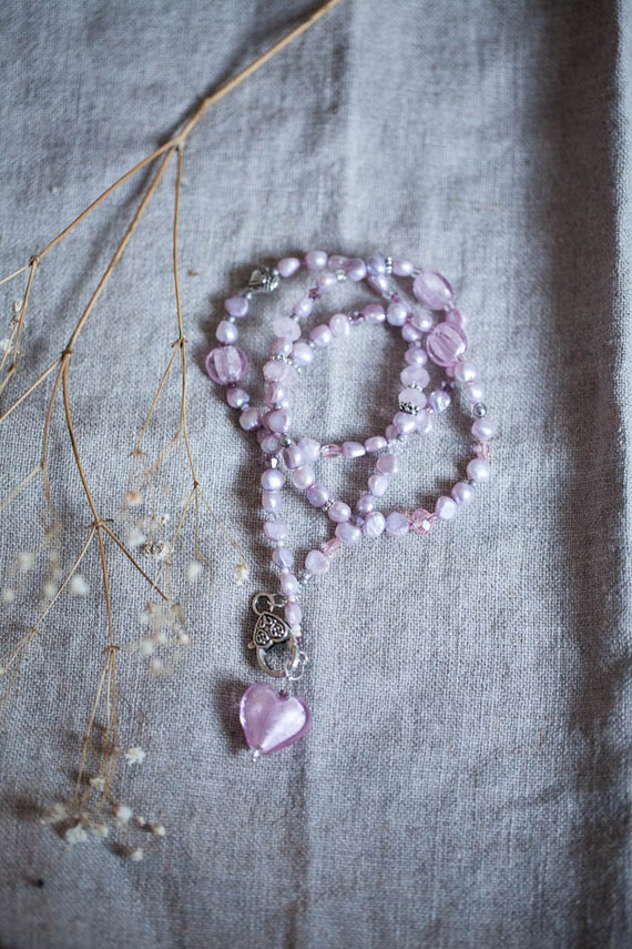 Purple Baby pink Freshwater Pearl Necklace Glass Heart Pendant Bridal necklace Wedding jewellery Romantic