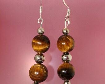 Golden Tiger Eye Earrings - Item 1055
