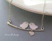 Love Birds Necklace, Couples Necklace, Valentines Day