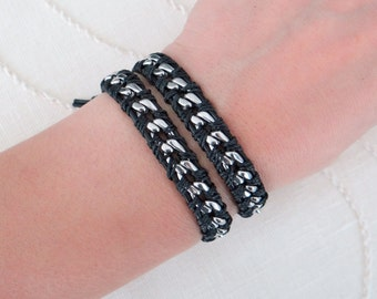 Chain Wrap Bracelet with Black Leather, a Button Clasp and Stainless Steel Chain