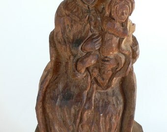 vintage carving wood Mother and child sculpture from Diz Has Neat Stuff