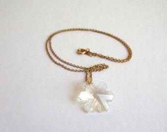 Vintage Crystal Necklace: Winter Light vintage snowflake crystal pendant on a gold tone chain