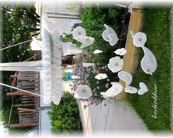 Bird Mobile White Mobile Bird Mobile Nursery Bedding, Nursery Decor, Baby Shower Gift, Wedding Mobile