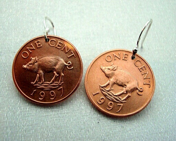 Cute little PIG COIN EARRINGS - Bermuda - piglet - Year of the Pig - Copper Piglet Grimm - Sterling earwires - curly tail