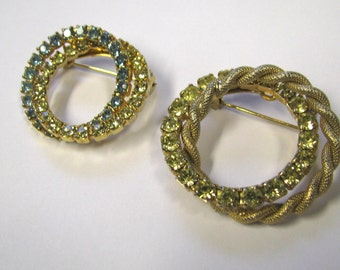 Vintage Rhinestone Brooch Lot of two Pastel Blue & Yellow Rhinestone Circular wreath Brooch lot in Gold tone metal