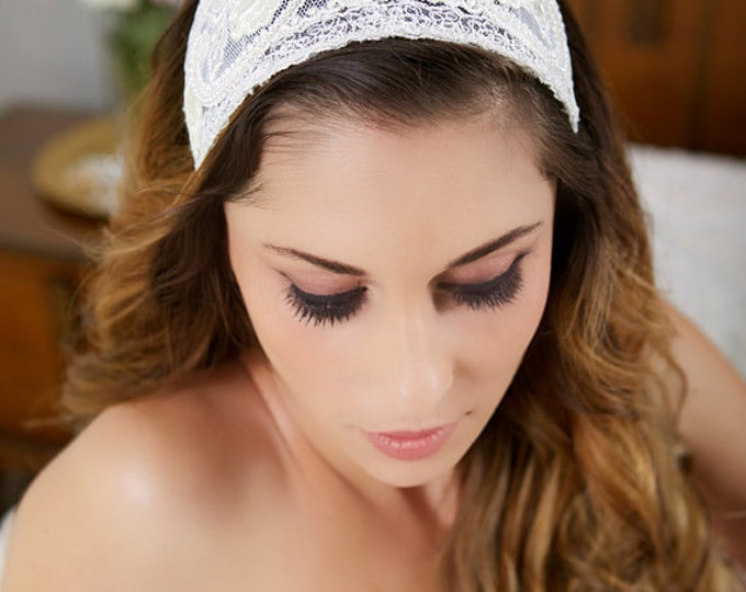 Ivory Lace Cap, Ivory Headpiece, Vintage Lace Headband, Lace Crown, Ivory Veil Cap, Wedding Headpiece, Princess Grace - STYLE 024