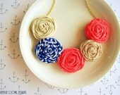 Nautical Rosette Statement Necklace, Summer Rosette Statement Necklace, Coral Rosette Necklace, Rosette Fabric Necklace, Nautical Jewelry