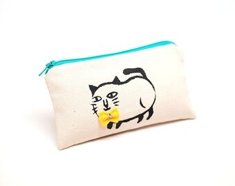 "Cat Change Purse,Canvas bag,""Siamese cat"", 5.9""x3.3"" small wallet"