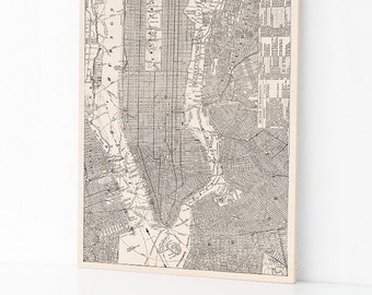New York City Wood Map, NYC Map on Maple Wood, New York Wall Art, Home Decor, NYC Wall Art, Vintage New York City, Wood Art