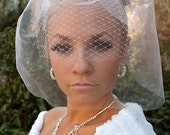 """PINK BIRDCAGE VEIL, """"Pretty in Pink"""" birdcage veil with bow, Double layered cage by Vegas Veils"""