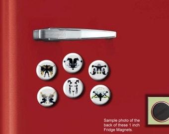"INK BLOTS Rorschach Psychology Inkblots Test set of 6 Hand Pressed 1"" Fridge Magnets"