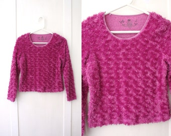 Fuzzy Pink Magenta Long Sleeve Shirt