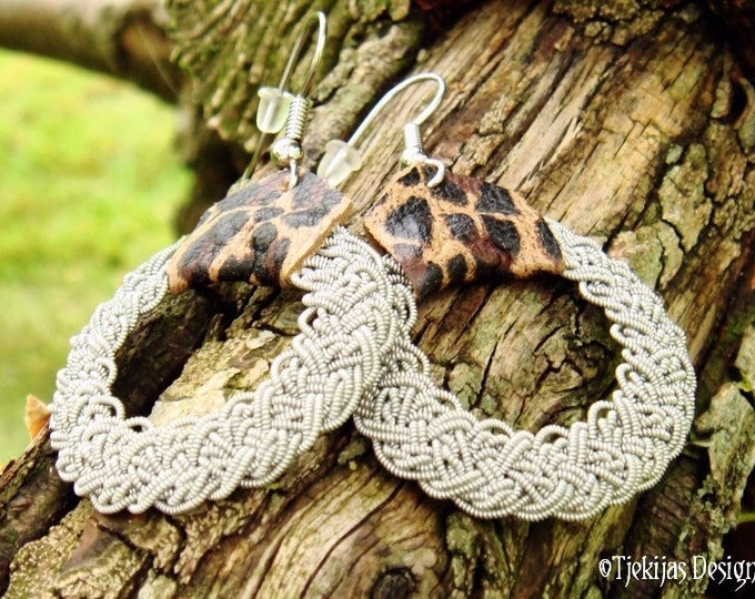 YGGDRASIL Nordic Viking Earrings in Sami Style with Braided Spun Pewter Wire and Leopard Reindeer Leather - Handcrafted Natural Elegance