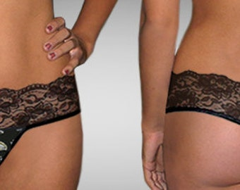 Sexy handmade with NFL Baltimore Ravens fabric scallop lace scallop G string thong