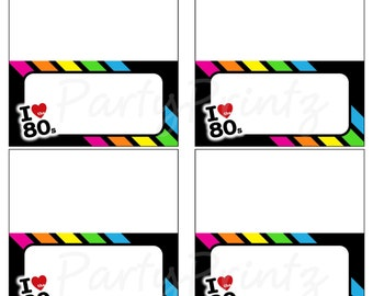 INSTANT DOWNLOAD - Printable 80's - Food - Place Cards - Favor Tags