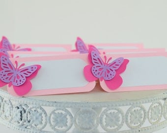 Butterfly Tent Place Cards, Food Labels, Butterflies Theme, Buffet Food Label, Hot Pink Theme, Butterflies Baby Shower Theme
