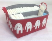 "NEW XLA Diaper Caddy 13""x11""x7"" Fabric Storage Bin, Organizer, Basket, White Elephant on Red with Grey Lining"