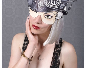 Victorian Girl tophat Mask by Carousel Ink - Victorian Paper MASK - OWL