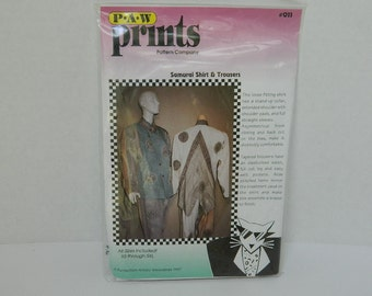 Womens' Loose Comfortable Shirt Pattern - Samurai Shirt - PAW Prints Pattern - Shirt and Pants Pattern - Pattern Destash - Asymmetrical  Top