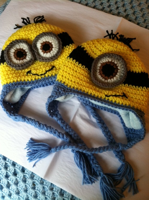 Minion Hat with Fleece Lining, Child Animal Hat, Minion Hat, Crochet Baby Hat, Winter Hat, Baby Hat, Newborn Hat, Child Hat