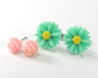 Daisy & Rose Earrings Set  Teal Aqua Blue Daisies and Ballet Slipper Pink Roses  Pastel Flower Titanium Post Earring Hypoallergenic Jewelry