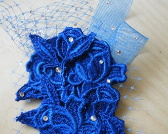 Fascinator Cobalt Blue Lace, netting & horsehair ribbon, embellished with dainty crystals