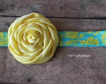 Yellow and Aqua Paisley print rosette headband