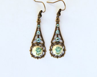 Blue Rose Earrings, Rose Jewelry, Filigree Earrings, Filigree Jewelry, Vintage Style Shabby Chic Jewelry, Sparkly Earrings, Romantic Jewelry