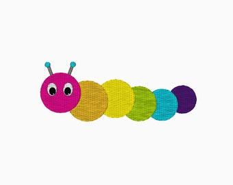 Fun caterpillar MINI embroidery design.  Machine embroidery.