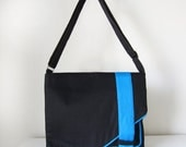 Black and Blue Messenger Bag with Adjustable Strap for Cross Body and Pockets