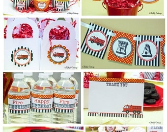 Fire Truck Birthday Party Ready To Go Package Printable DIY Package