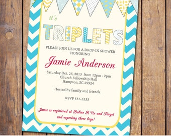 triplets baby shower invitations for triplets, chevron, blue pink and green with banner, gender neutral (item279)