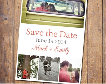 Save the Date collage, coral, your picture, personalized, digital, customized, printable, engagement card, wedding, (item133)