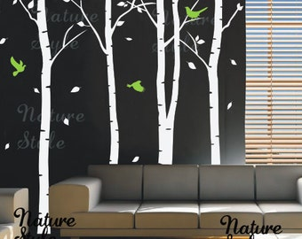 4 Birch Tree with Flying Birds -vinyl decal wall decal tree wall decal baby wall decal nursery wall sticker room decor wall tree decal