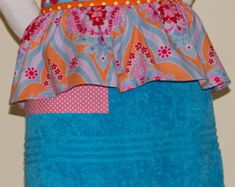 Monogrammed Bright  Blue Terry Cloth Ruffled Apron