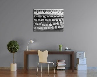 Gallery Wrap Canvas Black and White Vintage Typewriter Antique Office Home Decor Large Rustic Wall Art Living Room Hallway Art