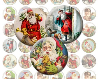 Vintage Santa Christmas Printable 1-Inch Circles / Bottlecap Images / Digital Collage / Holiday Theme / Santa Claus / Noel / Xmas