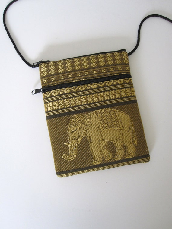 Traditional lao thai purse elephant series gold embroidered