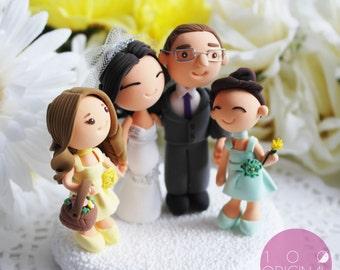 Custom Wedding Cake Topper- With lovely flower girls